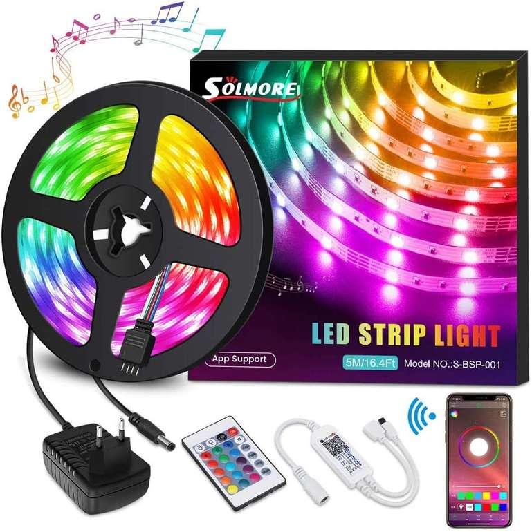 Solmore 5m LED Streifen (RGB, App, MusicSync) für 9,49€ inkl. Prime Versand (statt 19€)