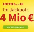 12 Tippfelder Lotto 6aus49 + GlücksSpirale Los nur 12€ – 4 Mio. € im Jackpot