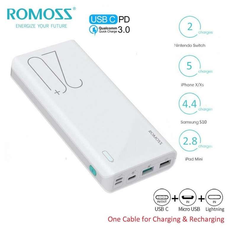 Romoss 20000mAh Powerbank (USB-C, 18W) für 16,98€ inkl. Versand (statt 19€)