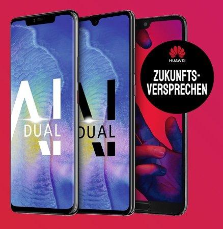 Huawei P20 oder Mate 20 für 4,95€ + o2 Blue All-in AllNet M 5GB LTE 19,99€ mtl.