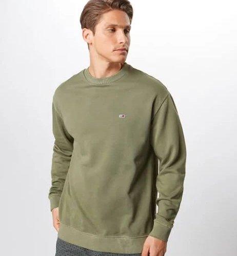 Tommy Jeans Herren Sweatshirt 'Washed Crew' in oliv für 50,92€ inkl. VSK