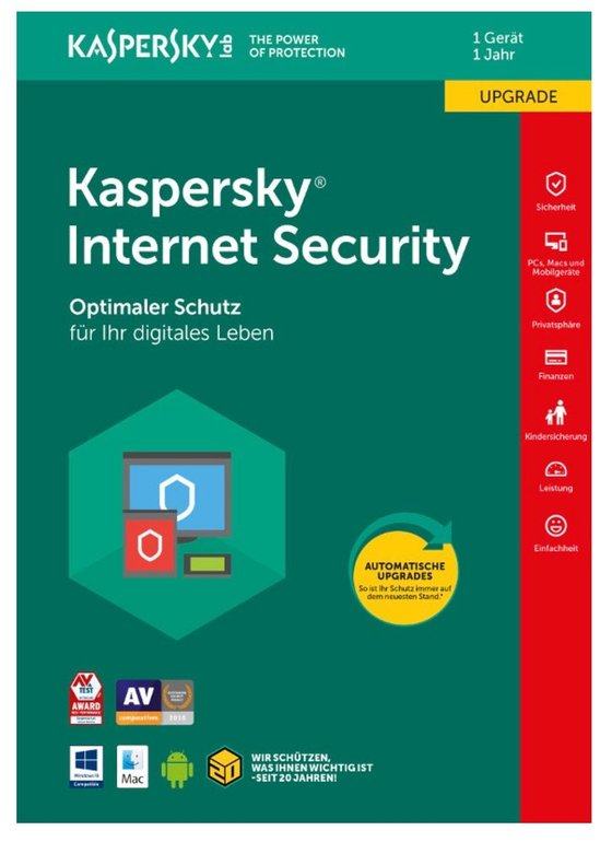 Kaspersky Internet Security 2018 Upgrade DL-Version (1 User - 1 Jahr) für 14,80€