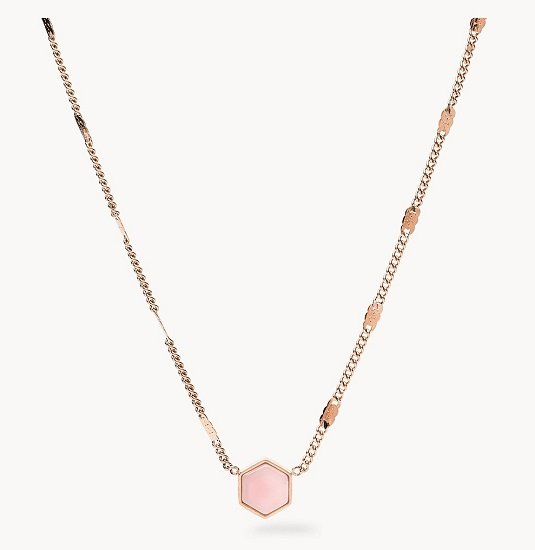 Fossil Damen Halskette Rose Gold-Tone Stainless Steel Hexagon für 27,20€ (statt 34€)