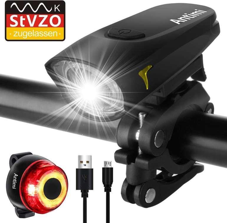 Antimi wiederaufladbare LED Fahrradbeleuchtung im Set für 11,99€ (Prime)