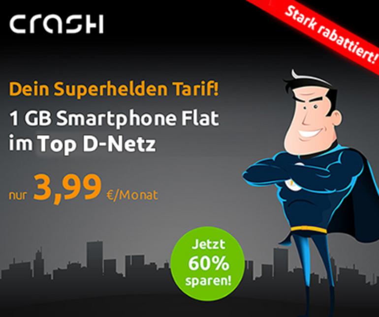 Crash Smart Flat 1000 (Vodafone, 100 Minuten, 1GB) für 3,99€ mtl.