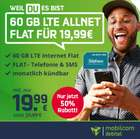 Bis 18 Uhr: Mobilcom Debitel o2 Allnet-Flat mit 60GB LTE (zu 225 Mbit/s) für 19,99€ mtl. (mtl. kündbar)