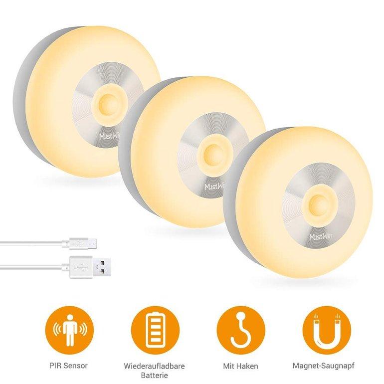 3x MustWin LED-Nachtlicht mit Bewegungsmelder für 13,99€ inkl. Prime-Versand