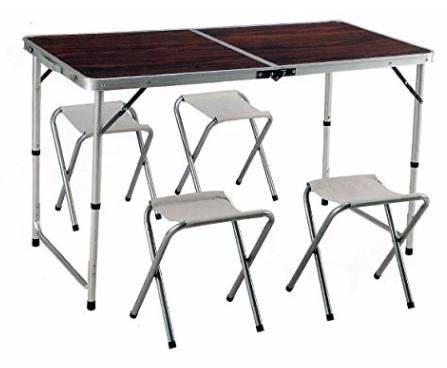 Preisfehler? Minuto & Salomone Camping Tisch (120 x 60) + 4 Hocker nur 15,08€