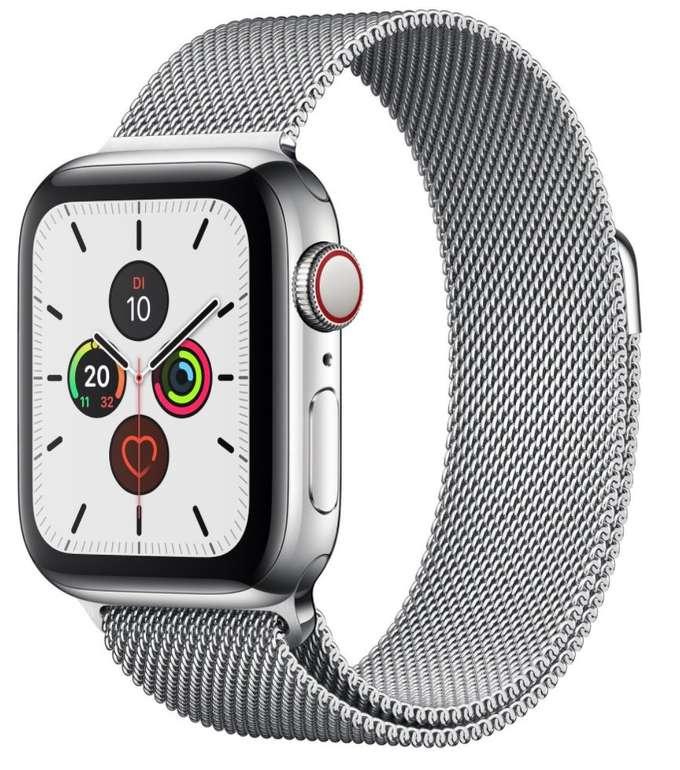Apple Watch Series 5 GPS + LTE Edelstahl Silber Milanaise 44mm für 469,95€ (statt 594€)
