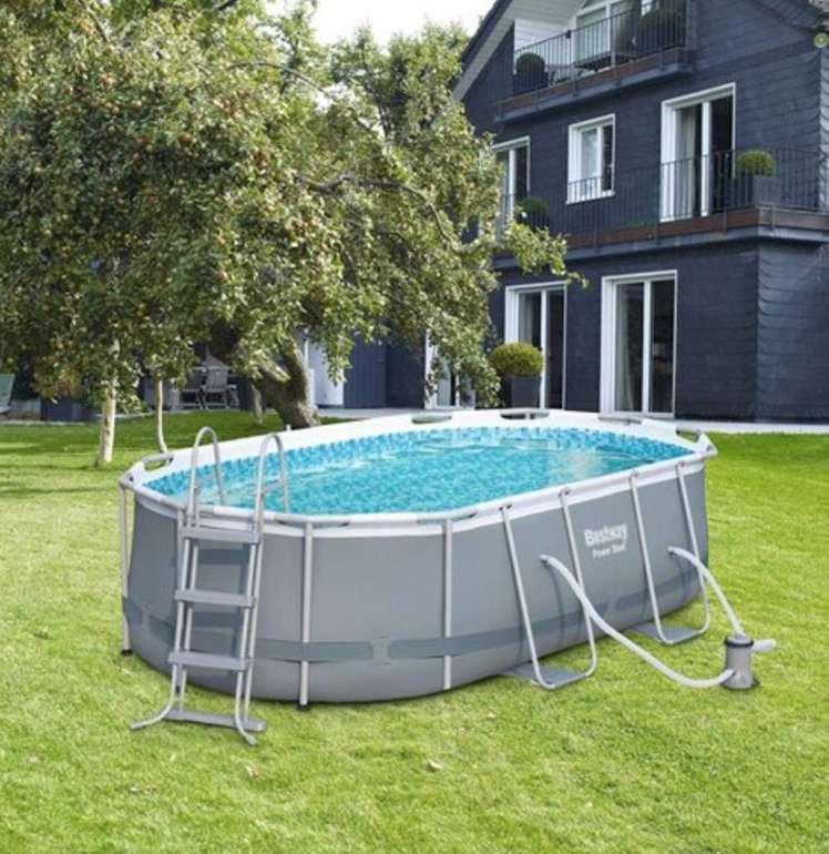 Bestway Stahlrahmen-Pool Set mit Pumpe und Sicherheitsleiter (424 cm x 250 cm x 100 cm) für 284,99€