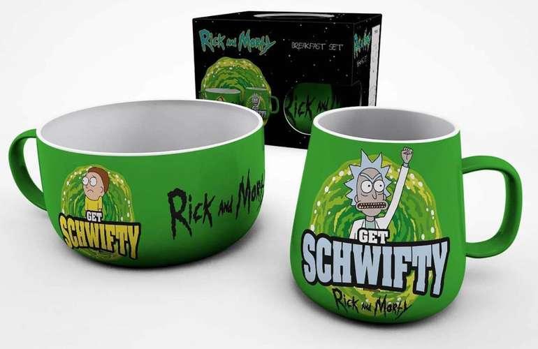 """Rick & Morty Frühstücks-Set """"Get Schwifty"""" (360 ml Tasse + 830 ml Müsli-Schüssel) für 10,48€ (statt 23€)"""