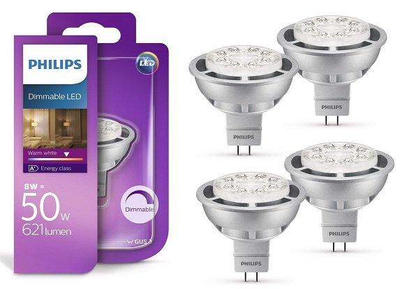 4er Pack Philips LED Lampe 8W GU5.3 Warmweiß & Dimmbar für 19,99€ (statt 28€)