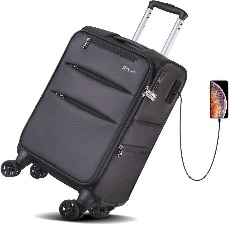 Reyleo Koffer mit 8 Rädern, USB Anschluss & TSA-Schloss (35L) für 24,99€ inkl. Versand (statt 30€)