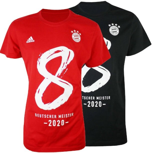 Adidas Bayern München 8x Deutscher Meister 2020 T-Shirt für 22,49€ inkl. Versand (statt 25€)