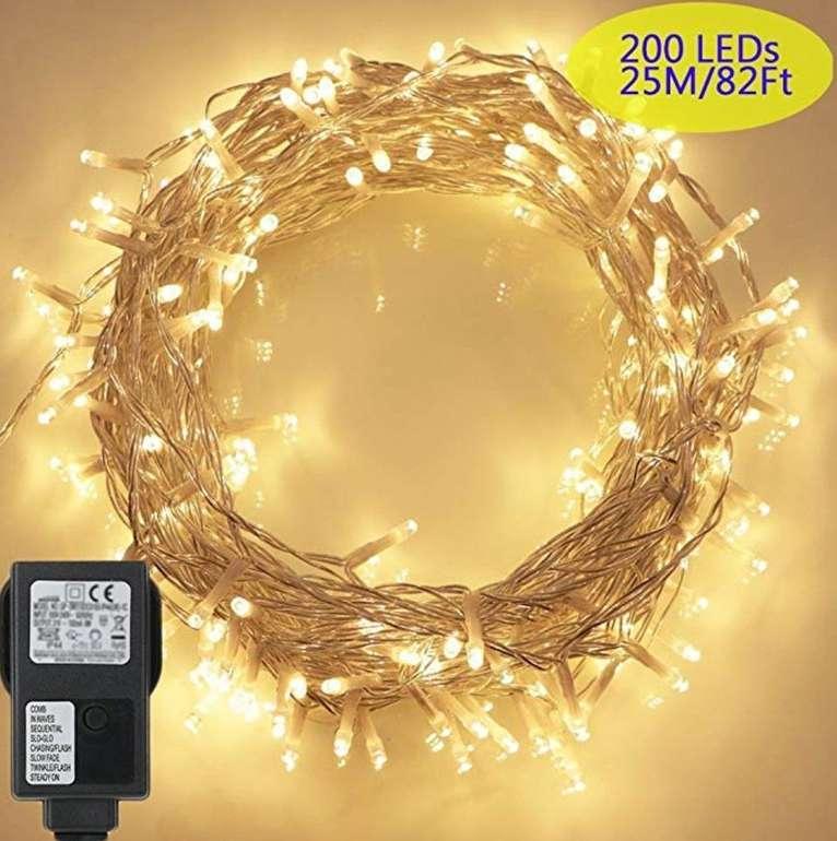 23m lange Tomshine LED Lichterkette mit 200 LEDs und IP44-Schutz für 9,91€ mit Prime