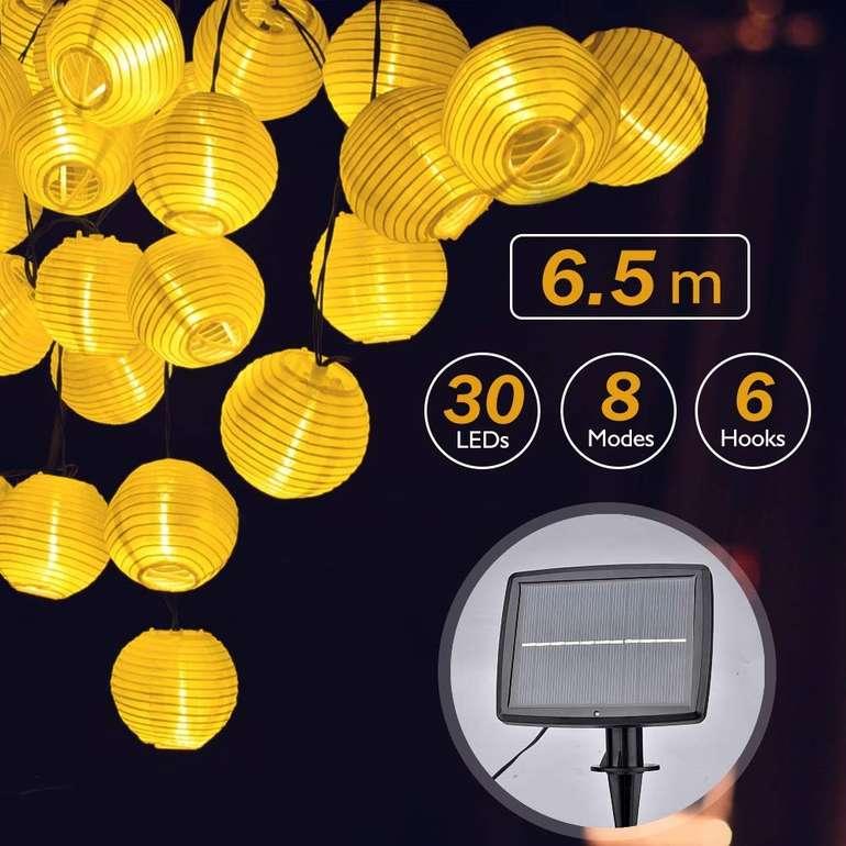Aushen Solar Laternen Lichterkette (6,5m, 30 LEDs, IP44) für 10,99€ (Prime)