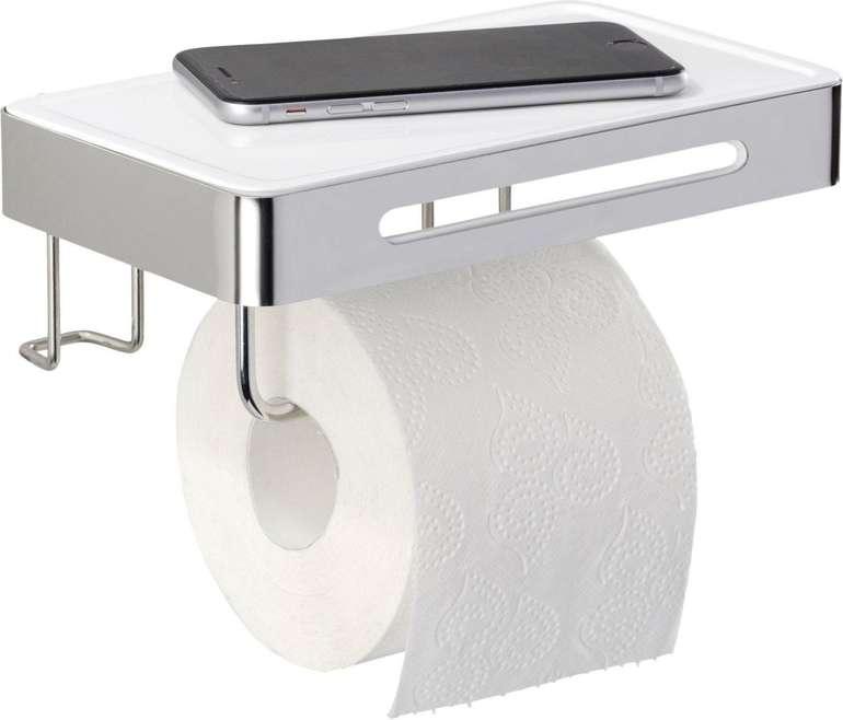 Wenko Toilettenpapierhalter mit Ablage & Klebebefestigung für 11€ inkl. Versand (statt 26€)
