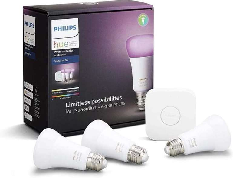 Philips Hue Color E27 Starter Set: 3x E27 (Gen 5 mit Bluetooth) + Bridge für 106,84€ (statt 139€) - Newsletter!
