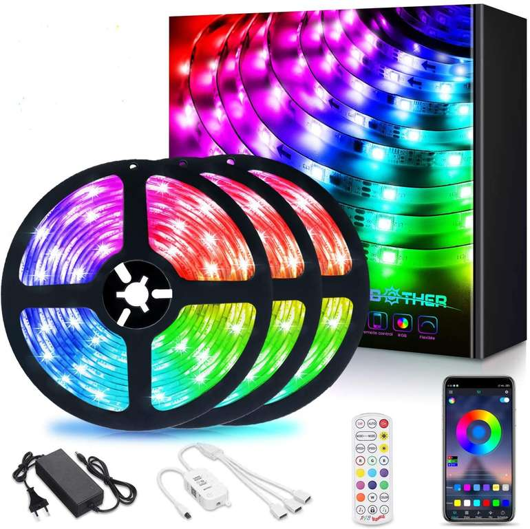Ambother 12m RGB LED Streifen (Music Sync, App) für 17,99€ inkl. Versand (statt 30€)