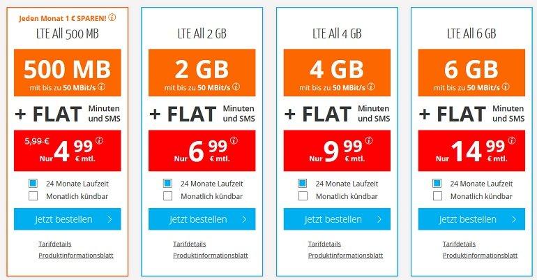 Sim.de o2 Allnet-Flat mit 500MB LTE Datenvolumen