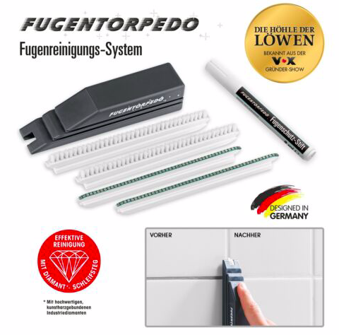 Fugentorpedo XL-Set (Handstück, 2x Fugenbürste, 2x Schleifsteg, Fugenstift) 18€