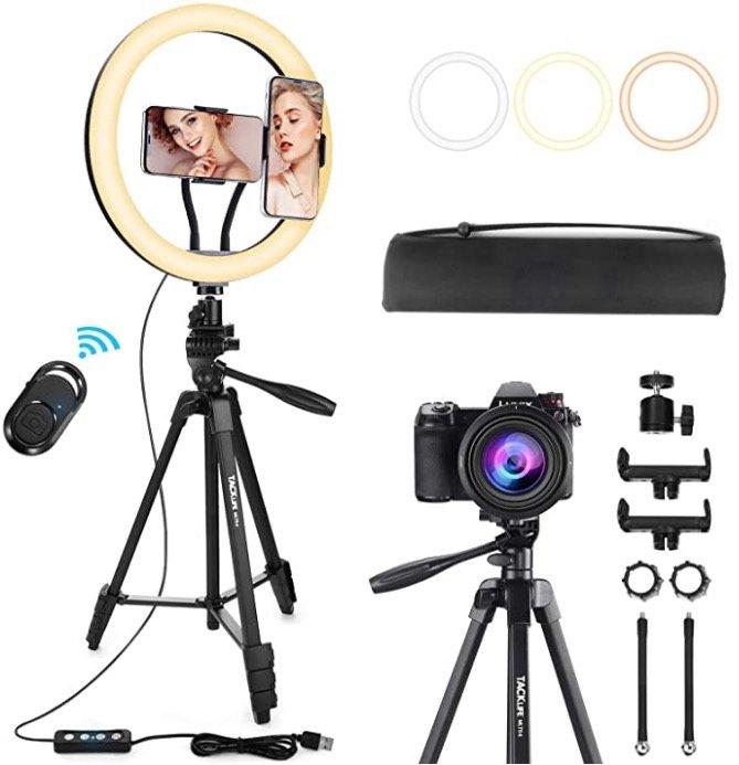 """Tacklife """"MLT04"""" 12"""" Selfie Ringleuchte mit Stativ für 27,59€ (statt 46€) - Prime!"""