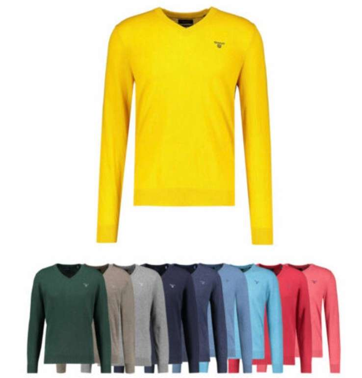 Gant V-Neck Herren Pullover aus Lammwolle für 35,71€ inkl. Versand (statt 53€)