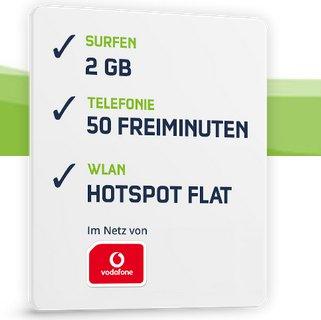 Vodafone Smart Surf (2GB, 50 Minuten & SMS) + HotSpot Flat für 4,99€ mtl.