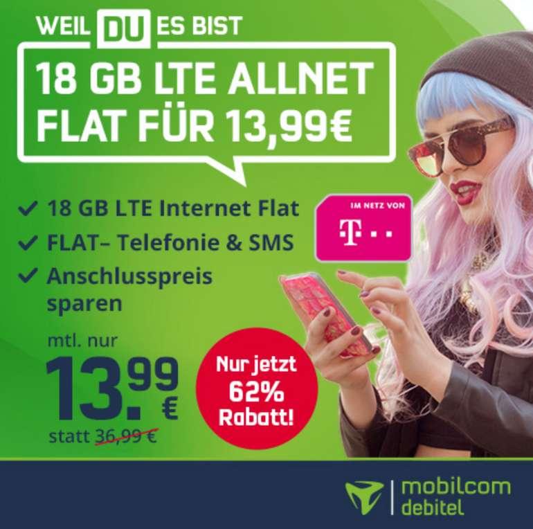 Mobilcom Debitel Green Allnet & SMS Flat mit 18GB LTE im Telekom Netz für nur 13,99€ mtl.