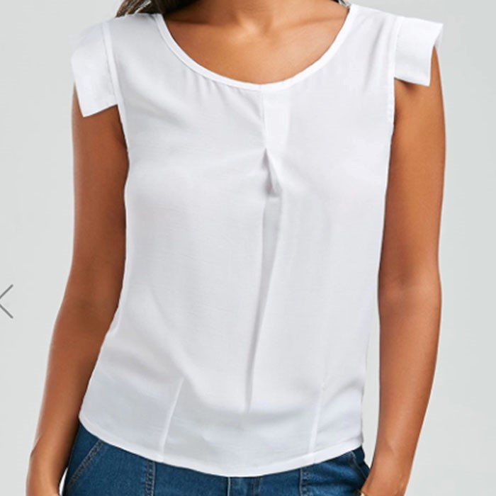 Brief White Scoop Neck Sleeveless Chiffon Damen Bluse für 2,54€ inkl. Versand