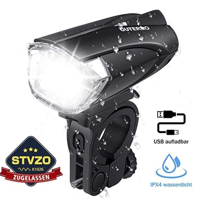 Outerdo Fahrradlicht LED, StVZO Zugelassen für 9,59€ inkl. Versand (statt 16€)
