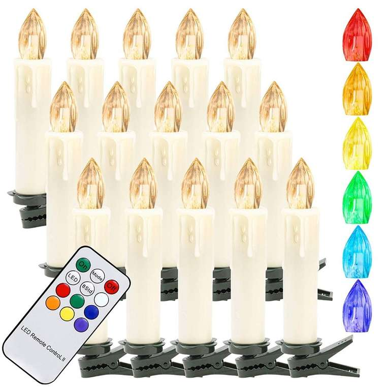 Hengda LED Warmweiß & RGB Weihnachtskerzen kabellos im Angebot, z.B. 30x für 18,89€ (statt 27€)