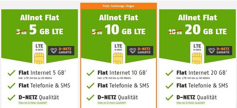 Klarmobil Telekom & Vodafone Allnet-Flats 2