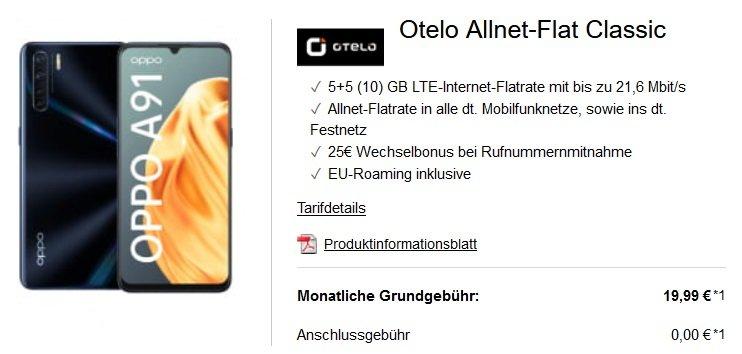 OPPO A91 128GB Otelo Vodafone Allnet-Flat Classic 10GB LTE