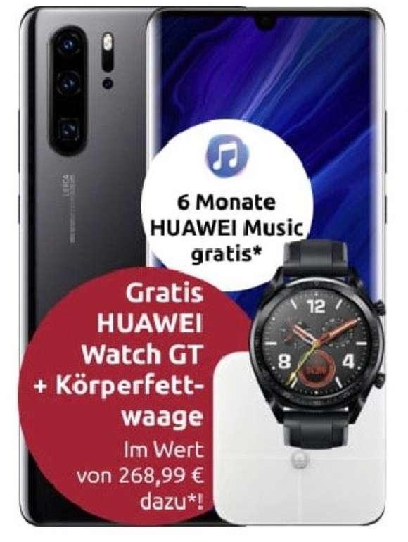 Huawei P30 Pro New Edition + Watch GT + Waage + 6 Monate Huawei Music (49€) + Vodafone Flat mit 20GB LTE für 29,99€ mtl.