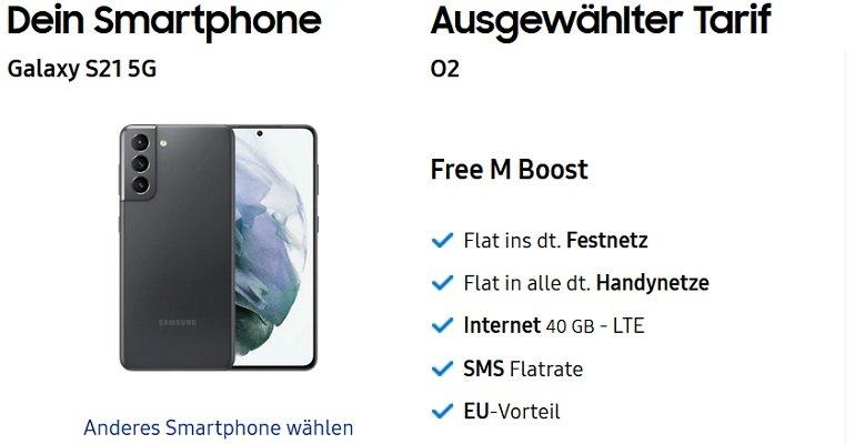 Samsung Galaxy S21 5G Galaxy Buds Pro o2 Allnet-Flat mit 40GB LTE 4