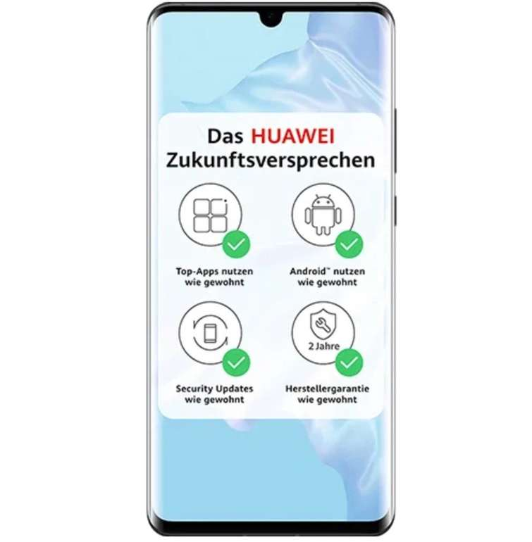 Huawei P30 Pro mit 128GB Speicher (5€) + o2 free M Allnet-Flat mit 20GB LTE (Young = 40GB) für 29,99€ mtl.