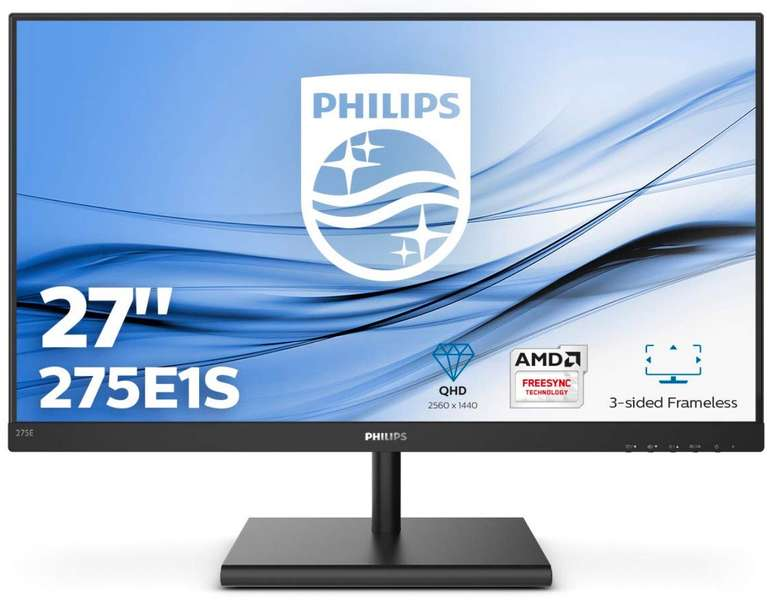 """Philips 275E1S/00 - 27"""" QHD Monitor  (4 ms Reaktionszeit, FreeSync, 75 Hz) für 176,46€ inkl. Versand (statt 211€)"""