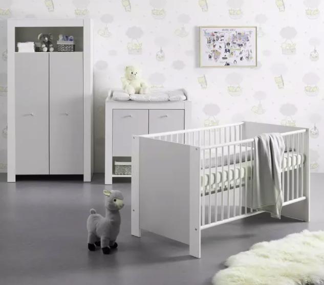"""Bessagi Home Babyzimmer """"Pia"""" in Hellgrau und Weiß für 518,30€ inkl. Versand (statt 698€) - Bonuscard!"""