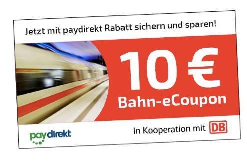 10€ Bahn eCoupon - für Tickets ab 29,90€ bei Zahlung mit paydirekt