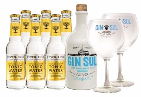 Nice! 2x Gin Sul 0,5l + 12x Fever Tree Indian Tonic 0,2l + 4 Gläser für 71,82€