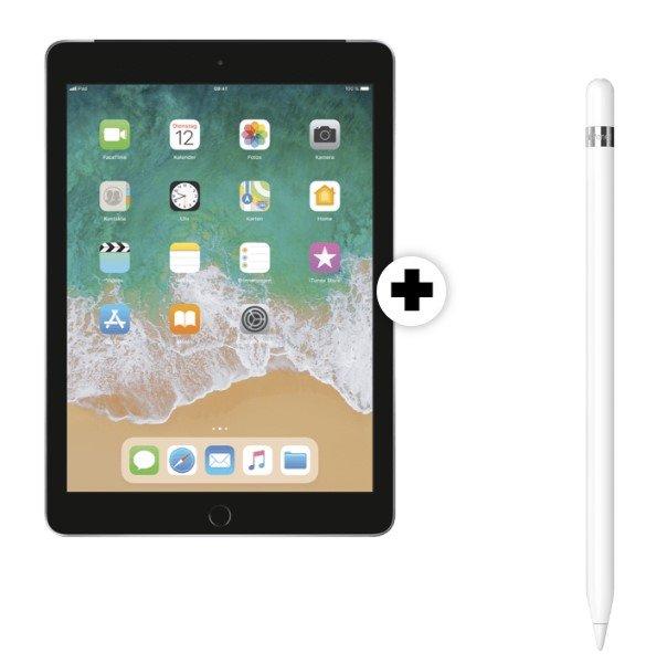 Apple iPad 10.2 2019 WiFi+Cellular (99€) + Apple Pencil (1. Gen.) + Telekom green Data XL (15GB LTE, 150Mbit/s) für 19,99€ mtl.