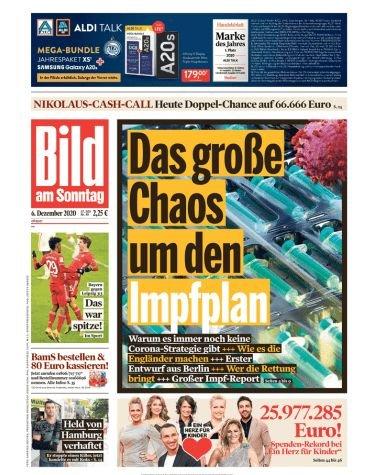 1 Monat Bild am Sonntag (4 Ausgaben) für 9,80€ + 65€ Geldprämie