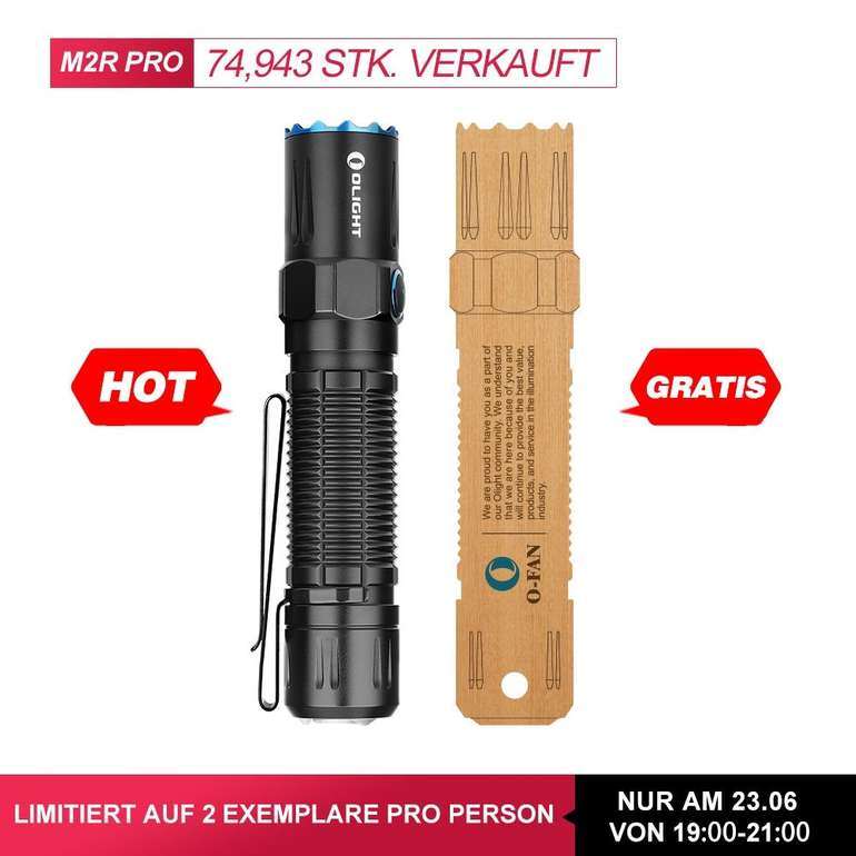 Olight M2R Pro Taschenlampe mit 1800 Lumen & 300m Reichweite für nur 77,97€ (statt 110€)