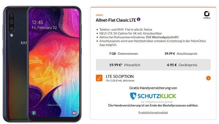 Samsung Galaxy A50 Vdafone Otelo Allnet-Flat Classic 7GB LTE