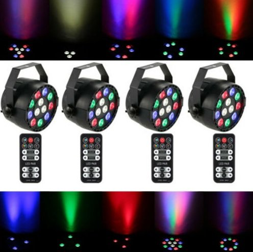 4 x Lixada Bühnen/Party-Licht mit Fernbedienung (15W, RGBW, LED) für 48,70€