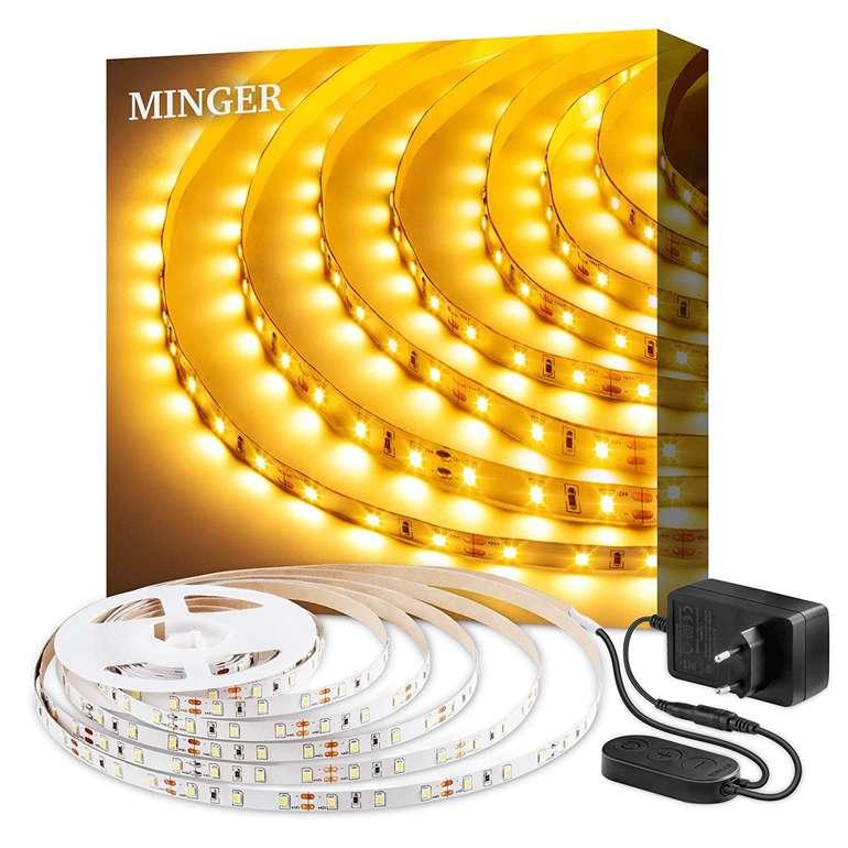 Minger 5m dimmbarer LED Strip mit 3000K (Warmweiß) & 300 LEDs für 8,15€ (Prime)