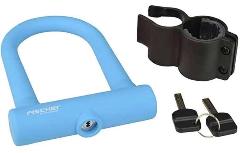 Fischer Fashion - Alu-Bügelschloss in blau (Sicherheitslevel 6, Maße: 12.8 x 7cm, inkl. Rahmenhalter) für 10,79€