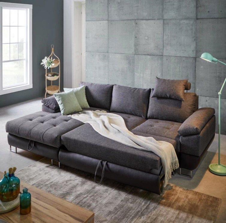 Modern Living Wohnlandschaft in Grau mit Bettfunktion für 559,30€ zzgl. Versand (statt 799€)