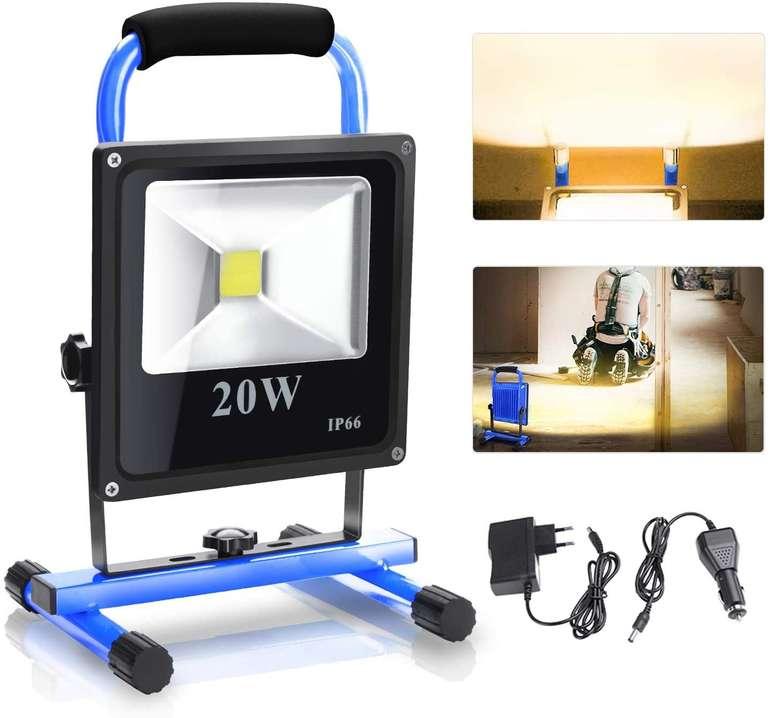 verschiedene Wolketon LED-Akku-Baustrahler z.B. 20W Warmweiß (1600LM) für 15,41€ inkl. Versand (statt 26€)